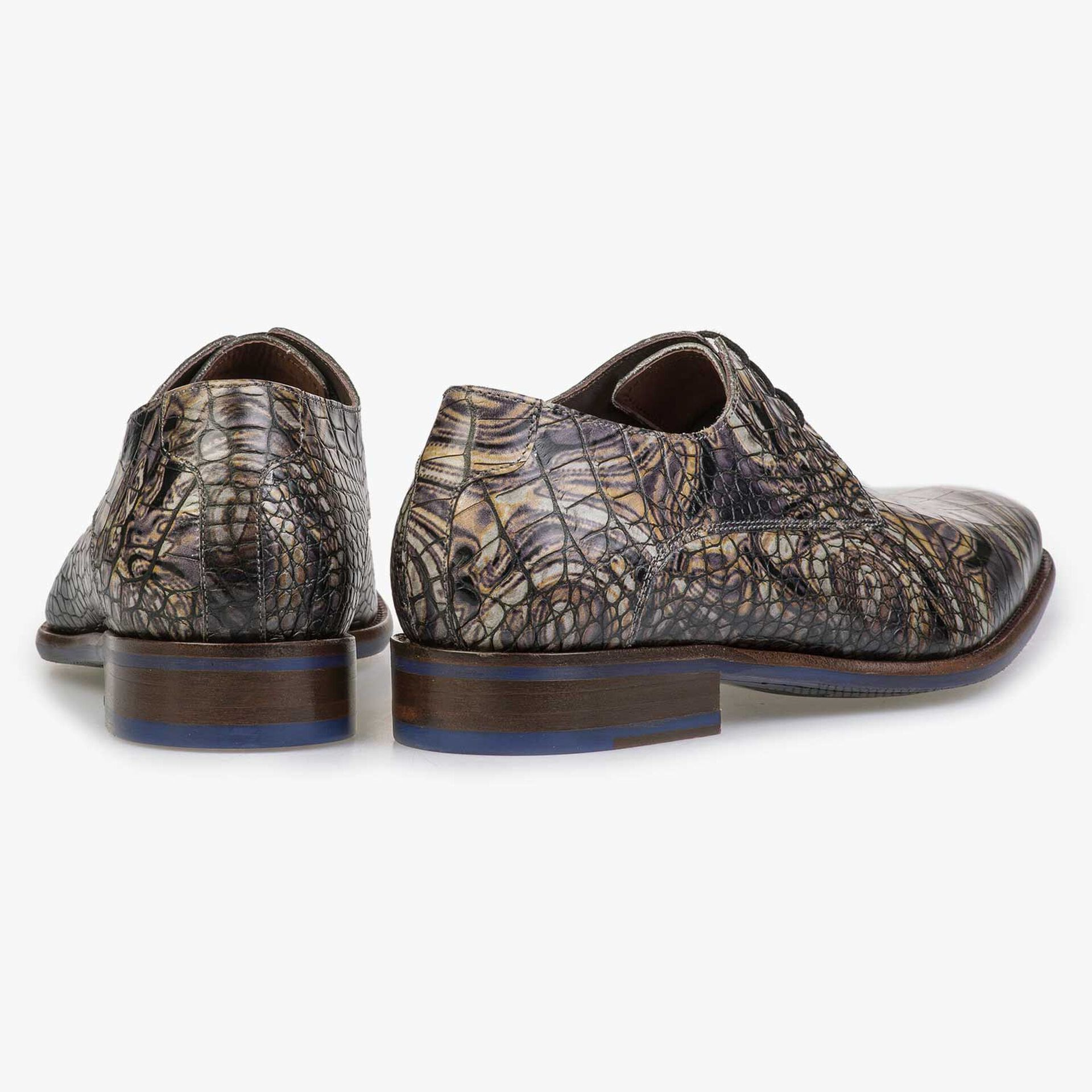Grey Premium calf's leather lace shoe with croco print