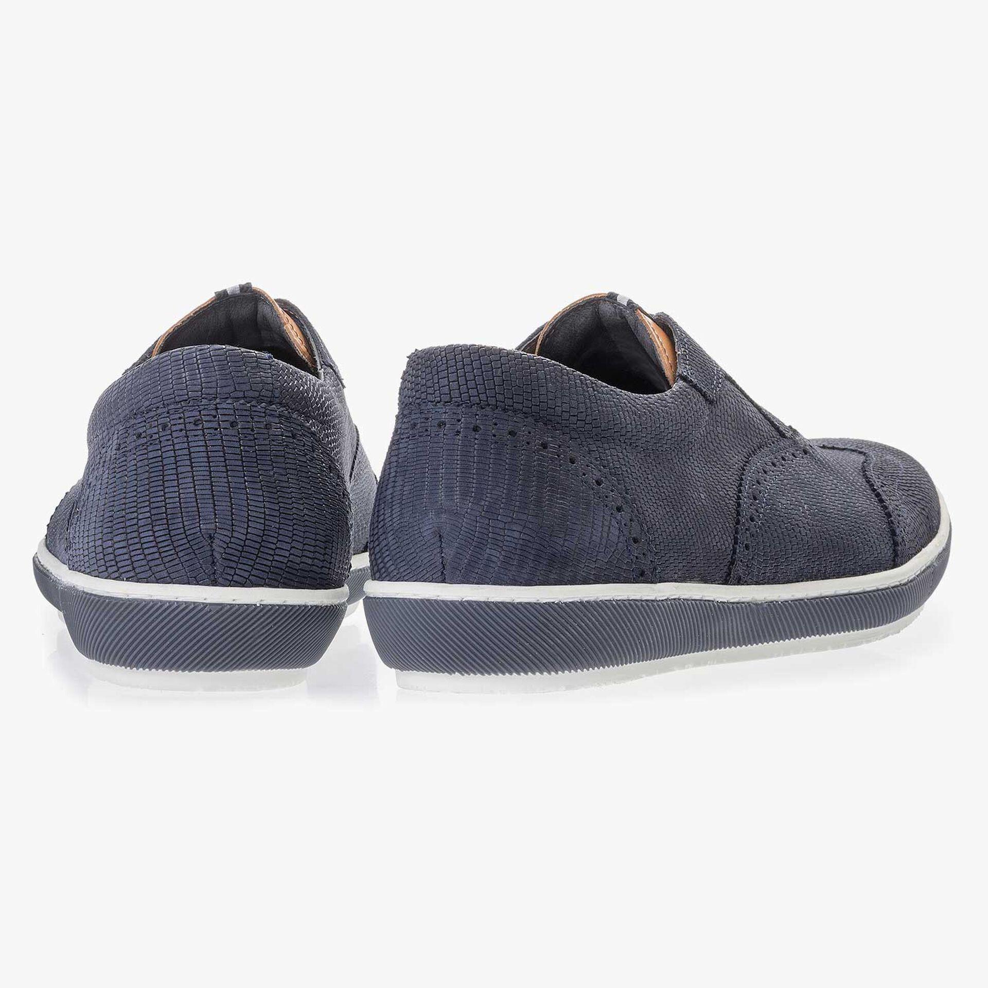 Blauer Brogue Nubukleder Sneaker