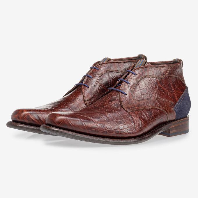Lace boot croco print cognac