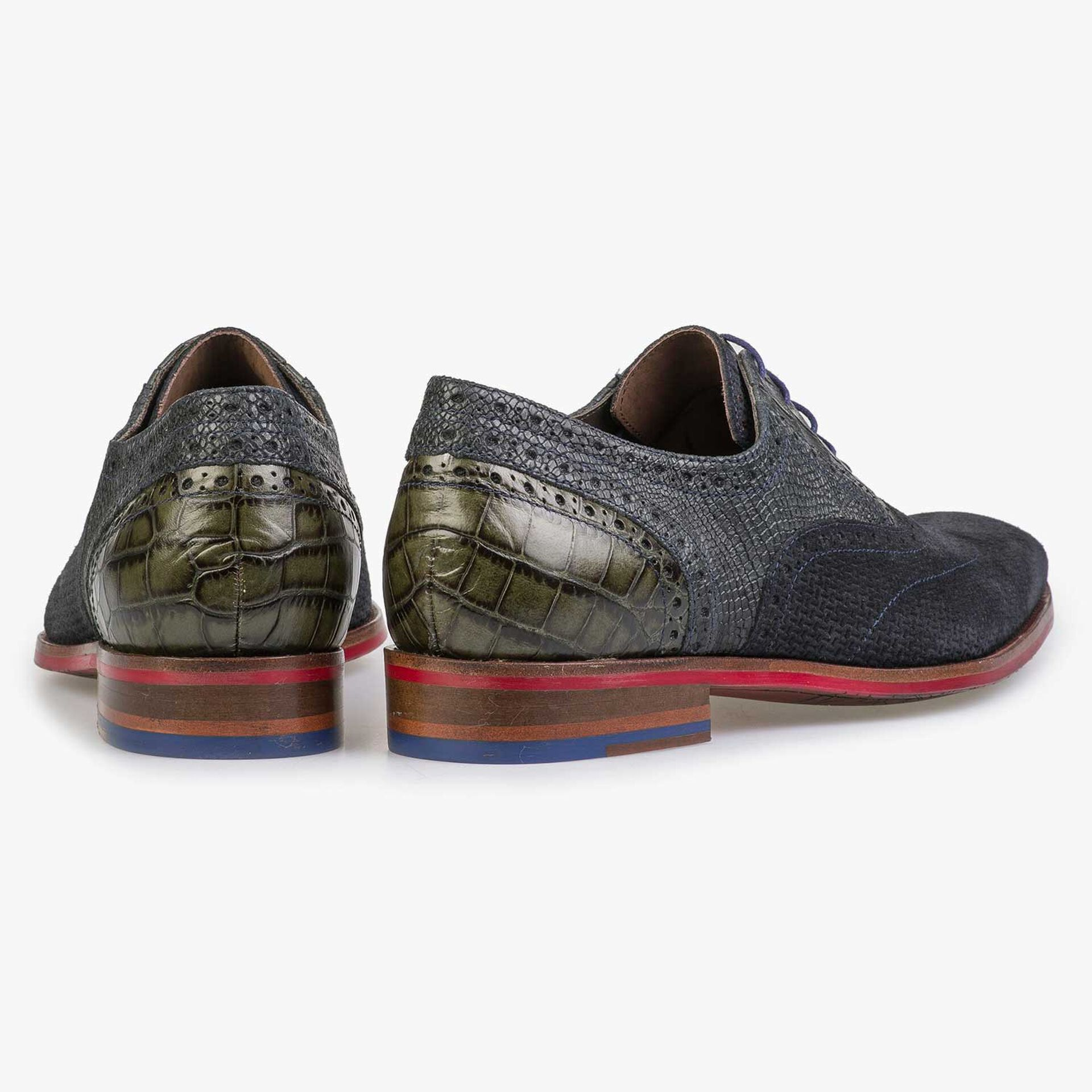 Blue calf's suede leather lace shoe with pattern