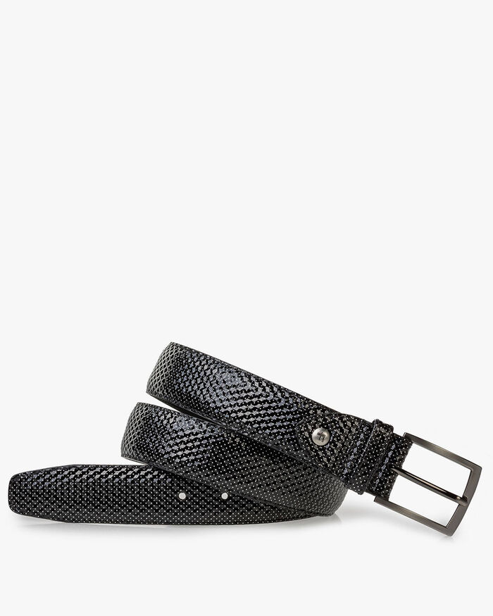 Belt printed leather grey