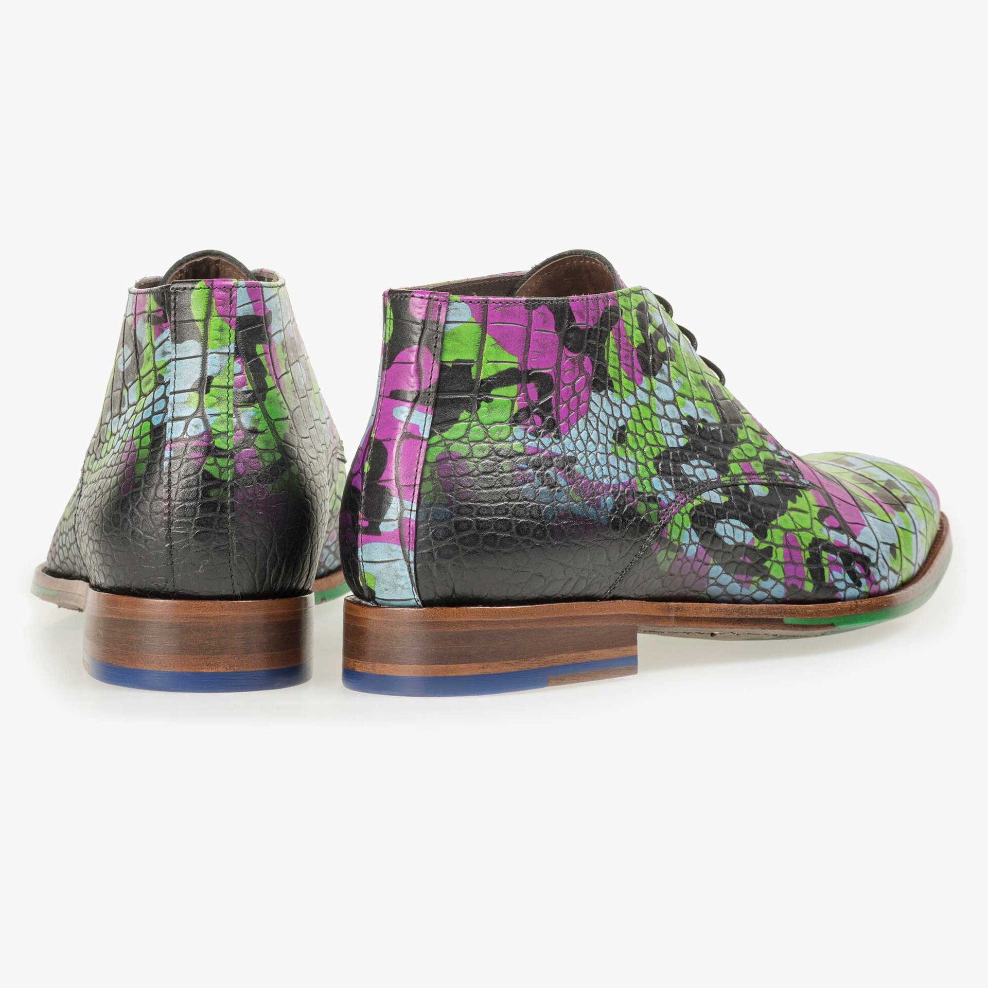Floris van Bommel Premium men's multi-coloured croco print lace boot