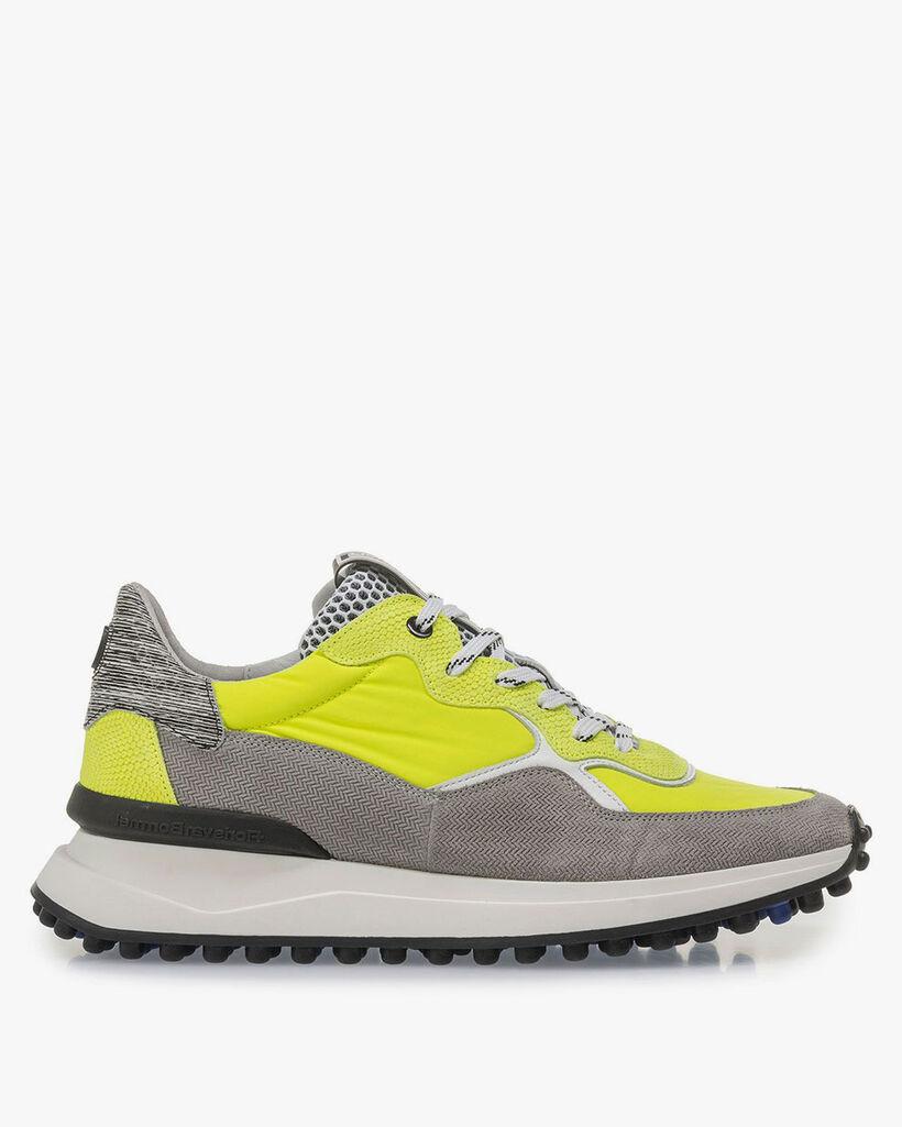 Grau-gelber Premium Wildleder-Sneaker
