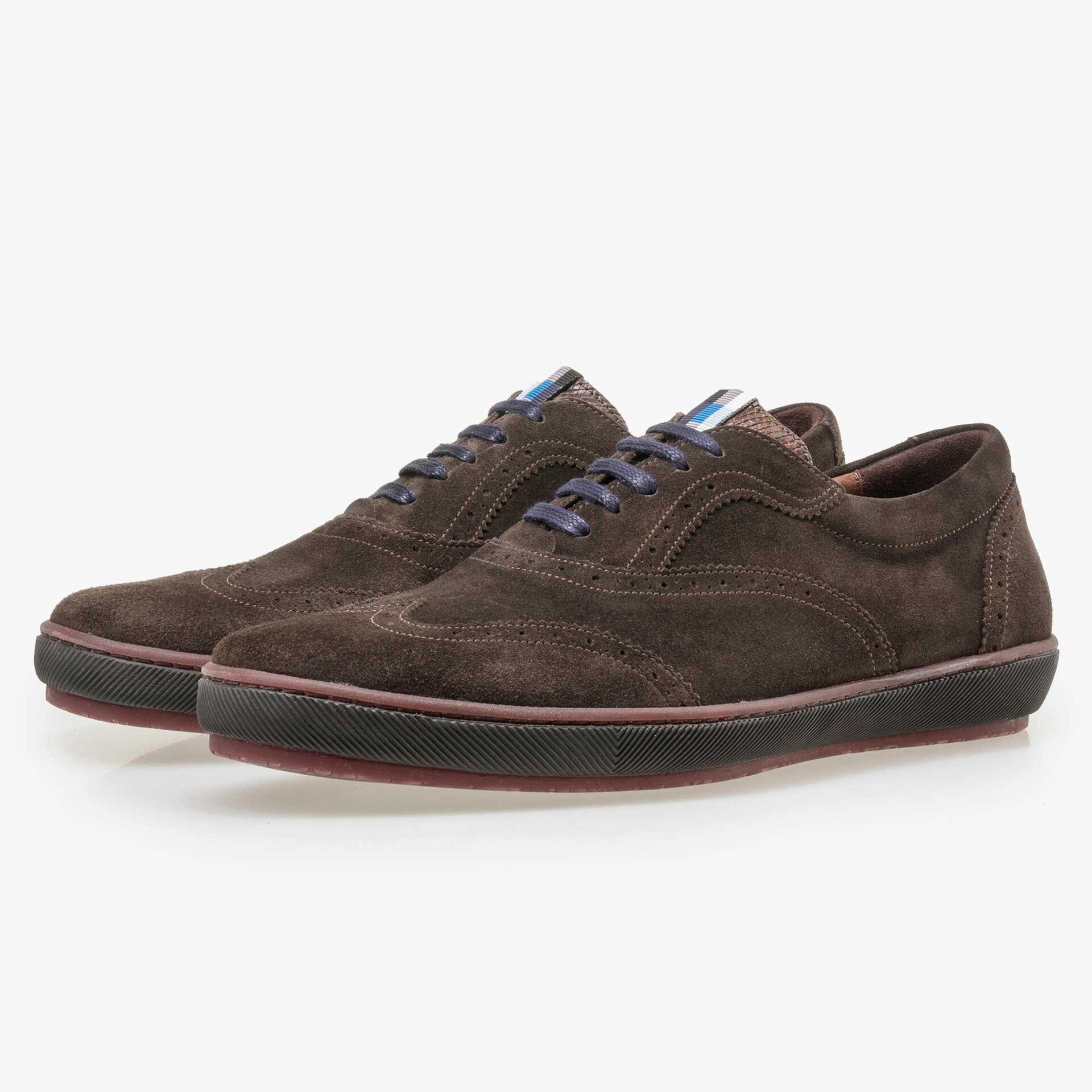 Floris van Bommel dark brown suede brogue lace shoe