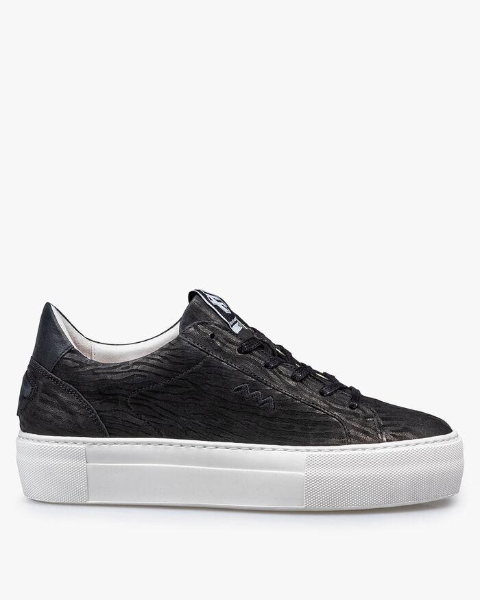 Sneaker Leder mit Print schwarz