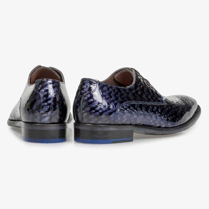 Blauer Premium Lackleder-Schnürschuh mit Print