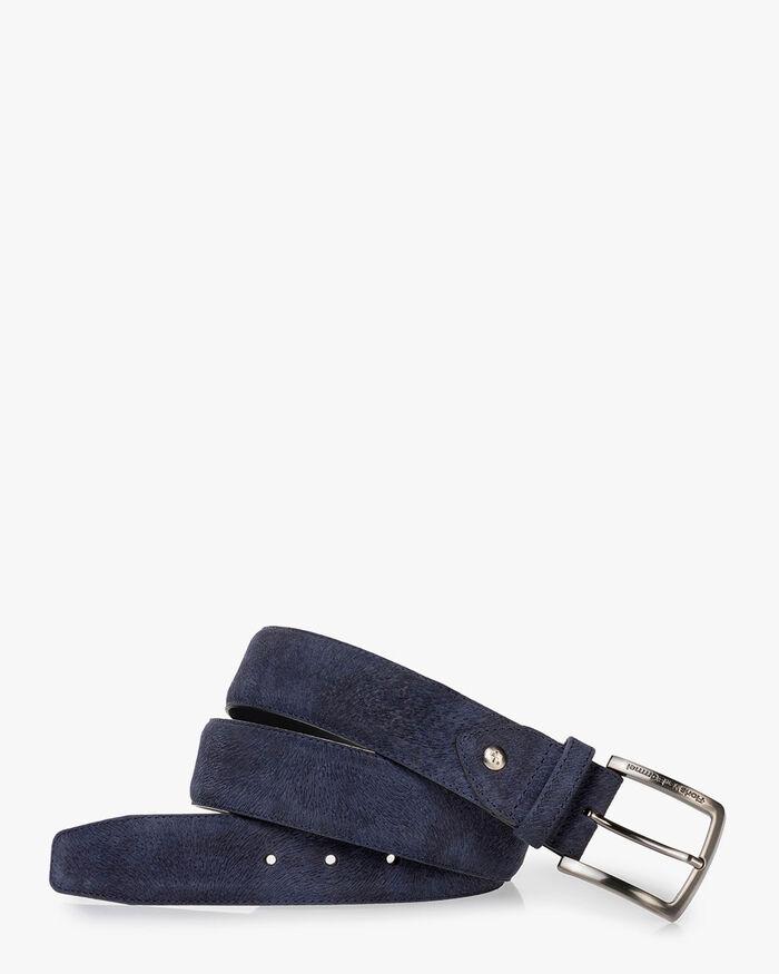 Gürtel Leder-Print blau