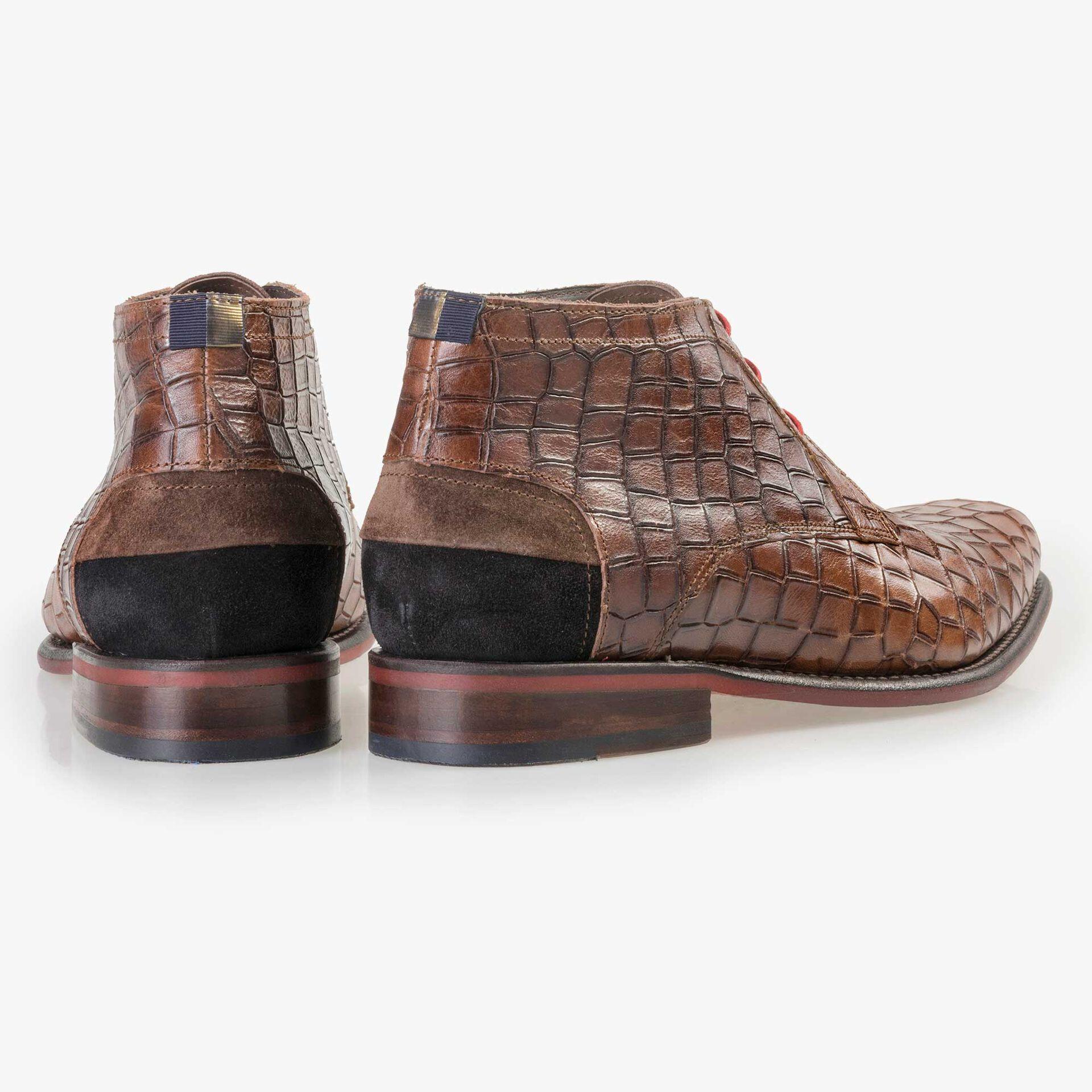 Floris van Bommel men's brown crocodile print lace boot