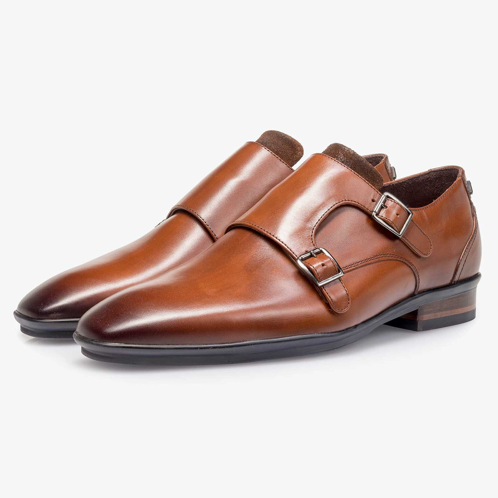 Cognac-coloured calf leather double buckle monk strap