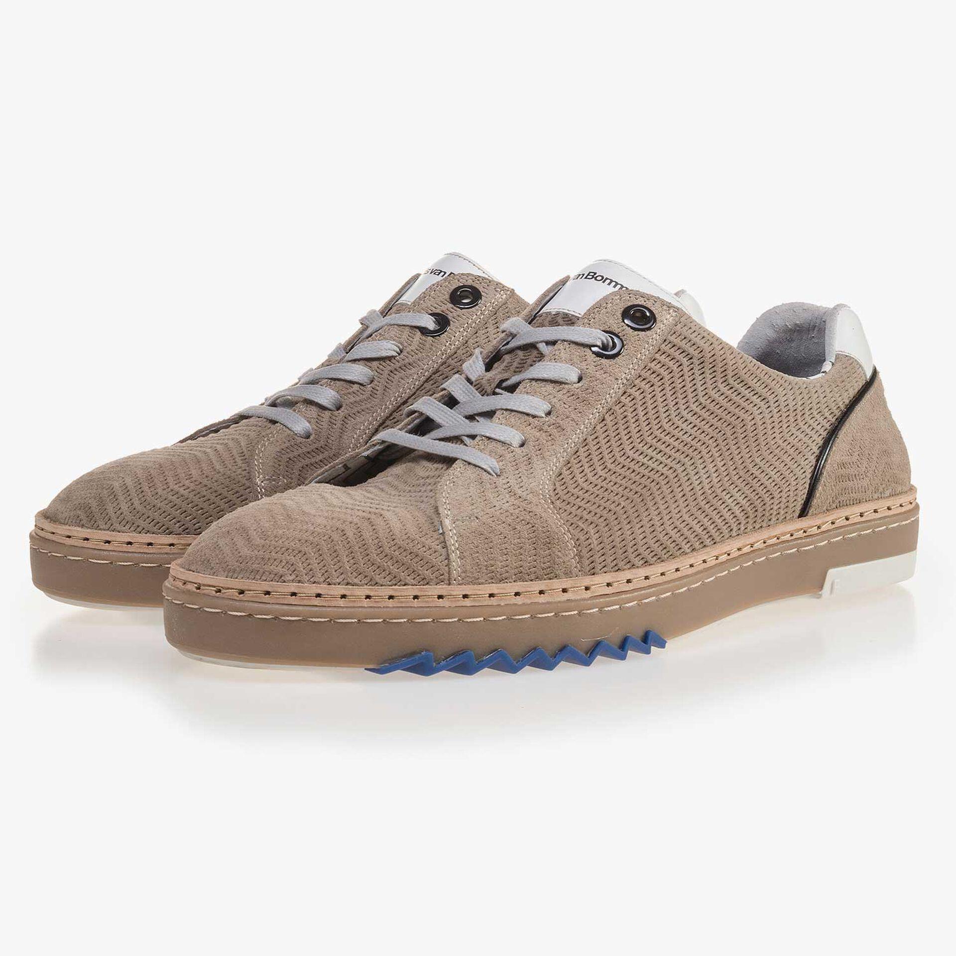 Sandfarbener, gemusterter Leder Sneaker