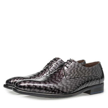 Premium printed patent leather lace shoe