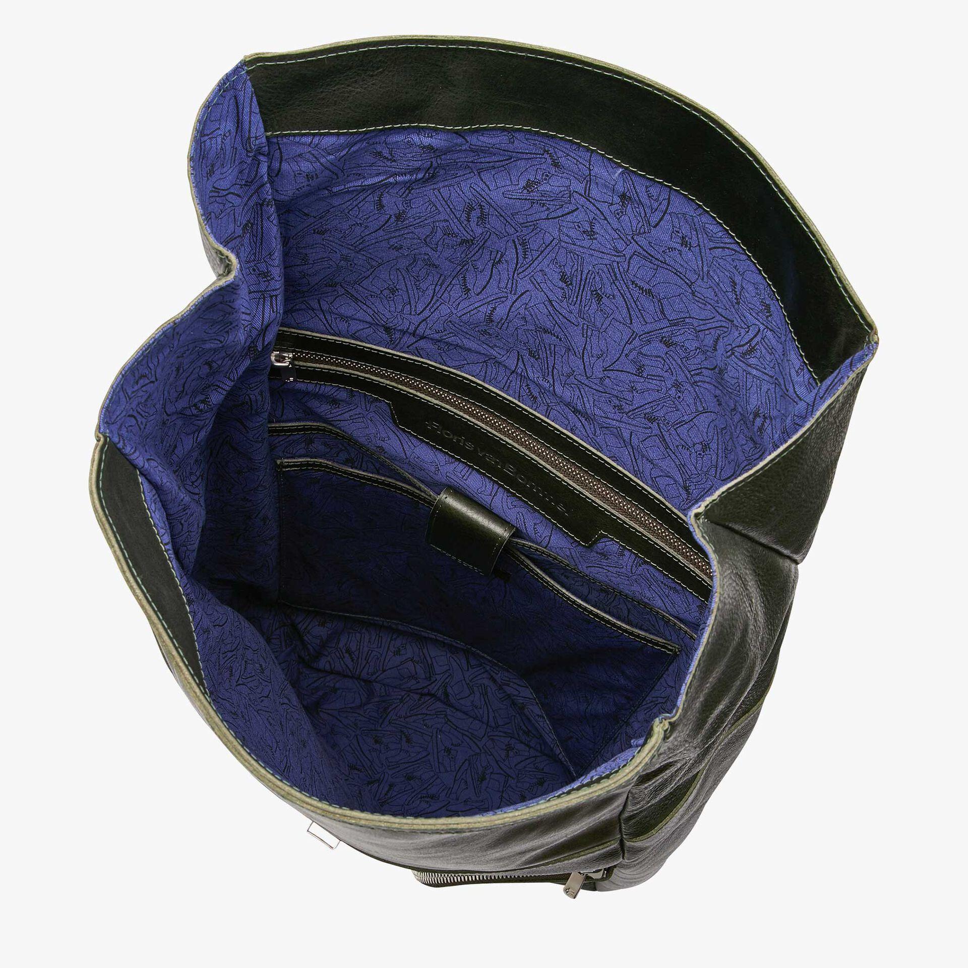 Floris van Bommel green leather backpack
