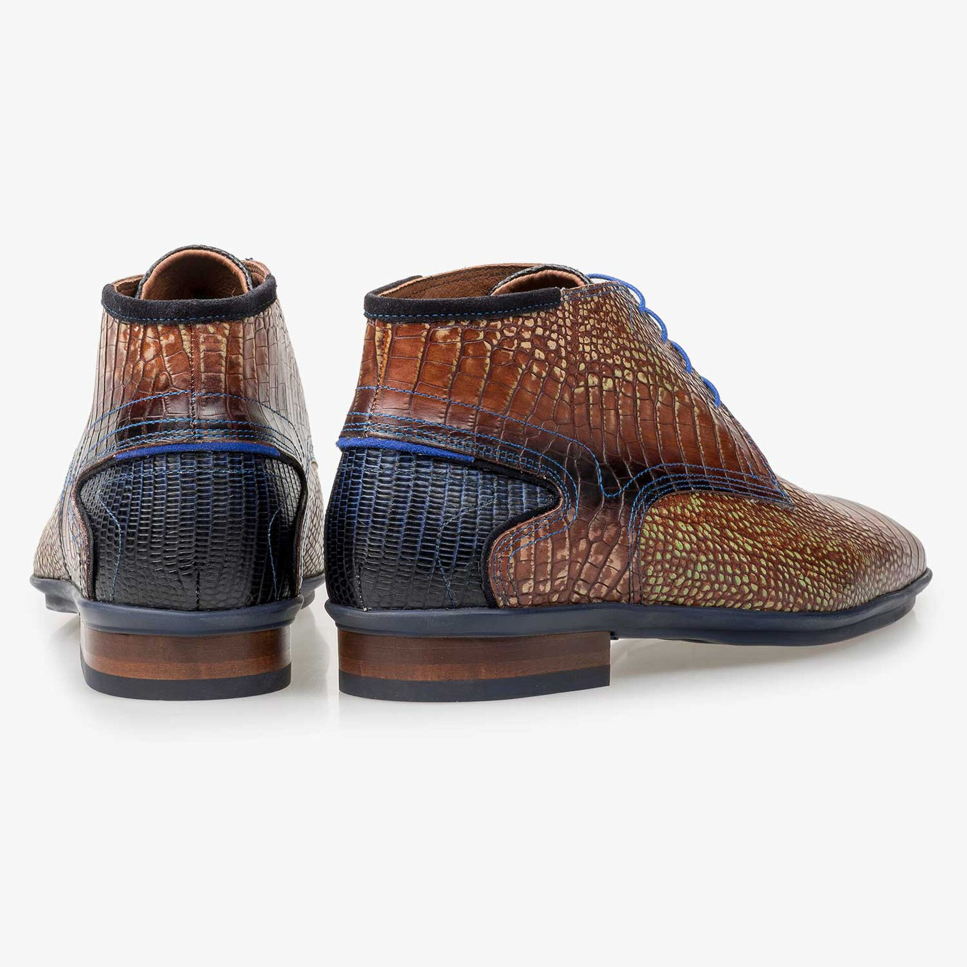 Cognac-coloured calf leather lace boot with croco print