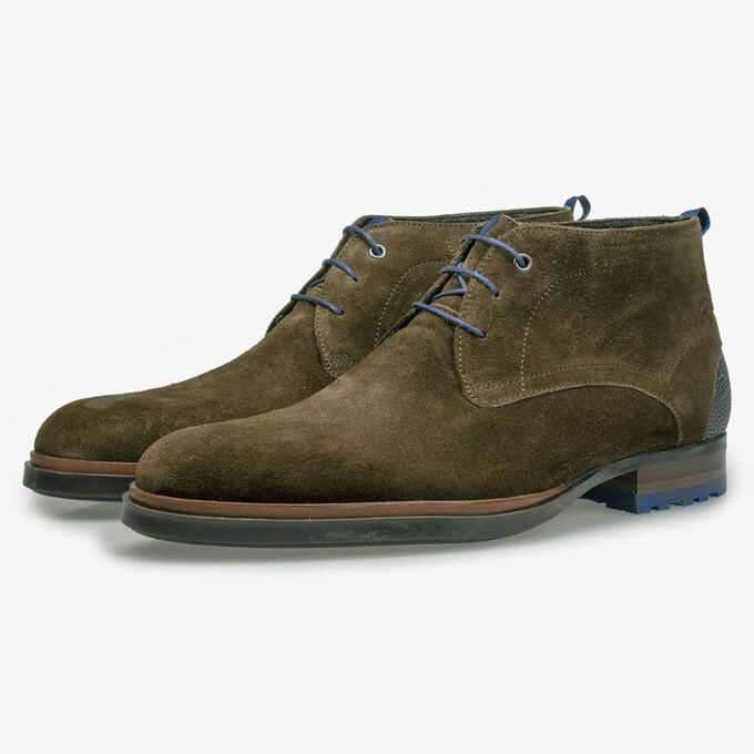 Olive green calf's suede leather lace boot