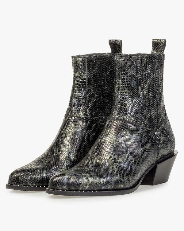 Chelsea Boot Reptilienprint grün