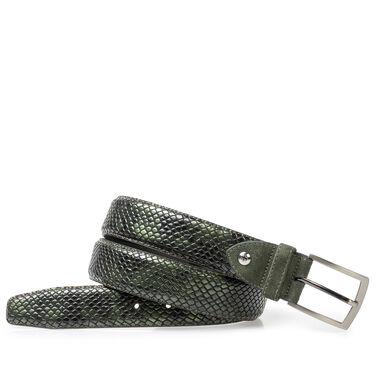Printed patent leather belt