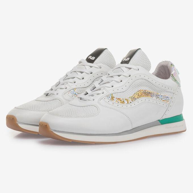 Weißer Leder-Sneaker mit Metallic-Details
