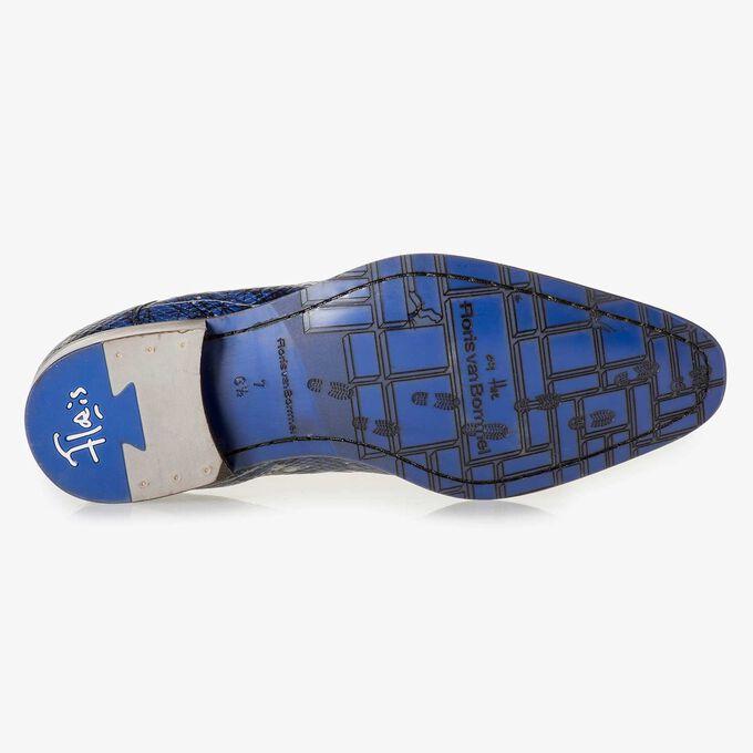 Blauer gemusterter Kalbsleder-Schnürschuh