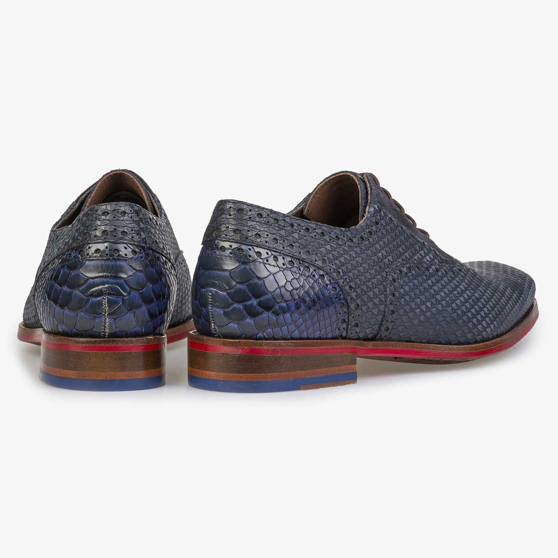 Blue nubuck leather lace shoe with snake print