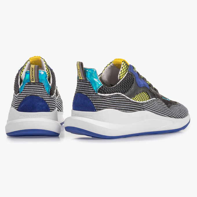 Premium blue and yellow suede leather sneaker