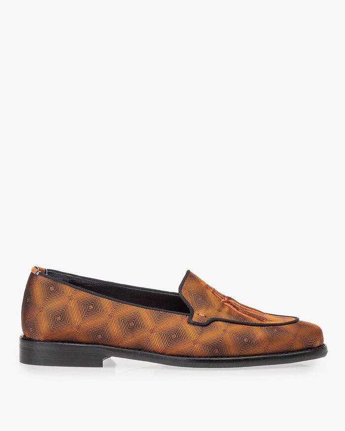 Loafer braun Textil mit Print