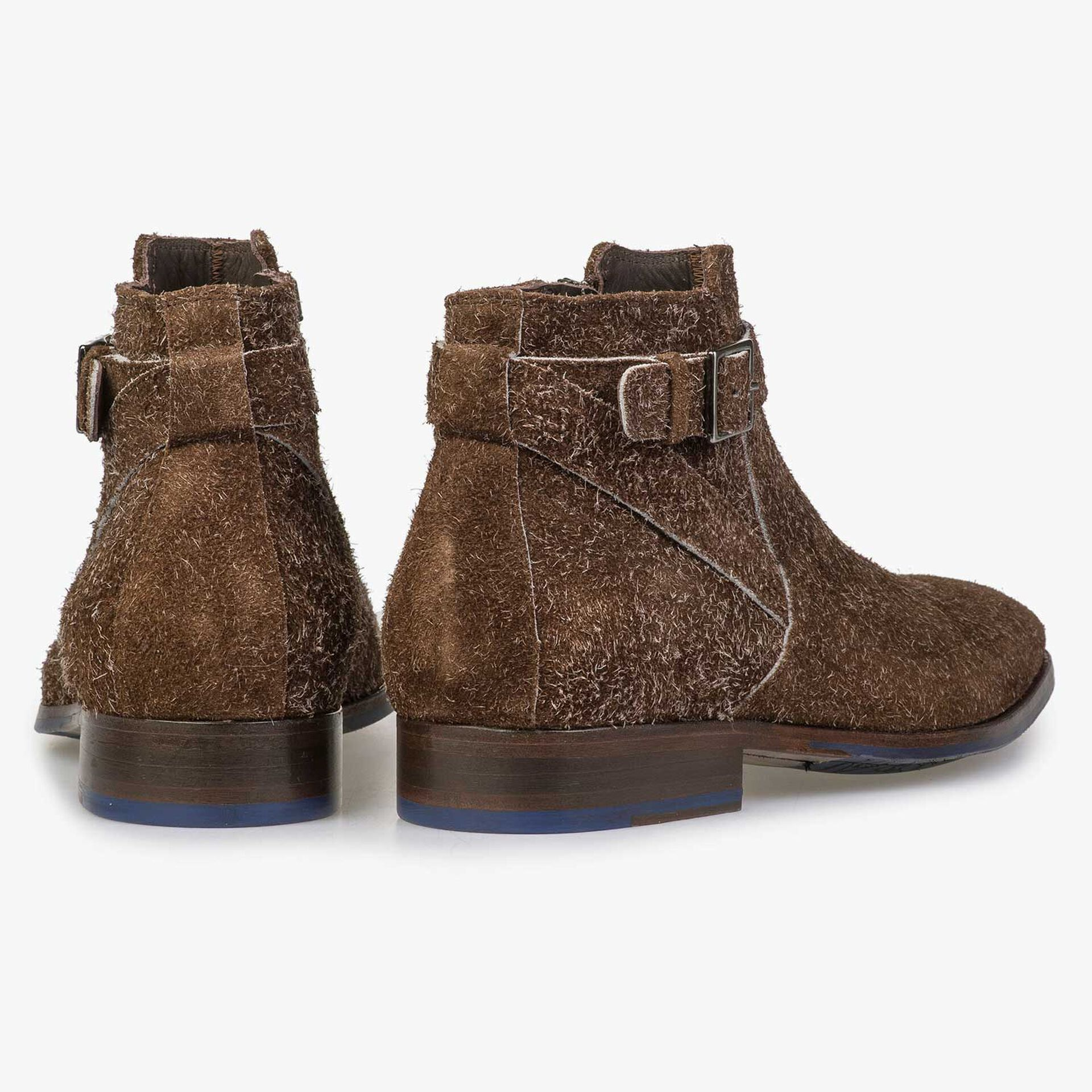 Brown rough suede leather zip ankle boot