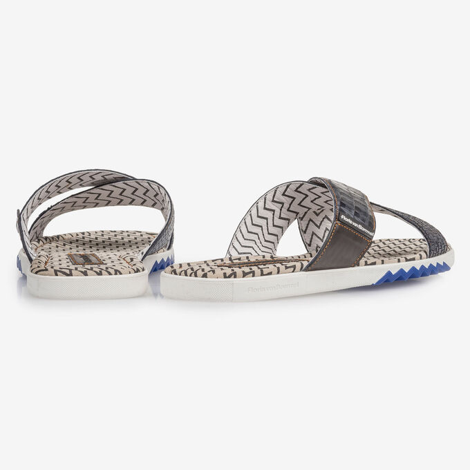 Dark blue nubuck leather cross strap slipper with print