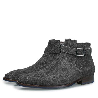 Rough suede leather ankle boot