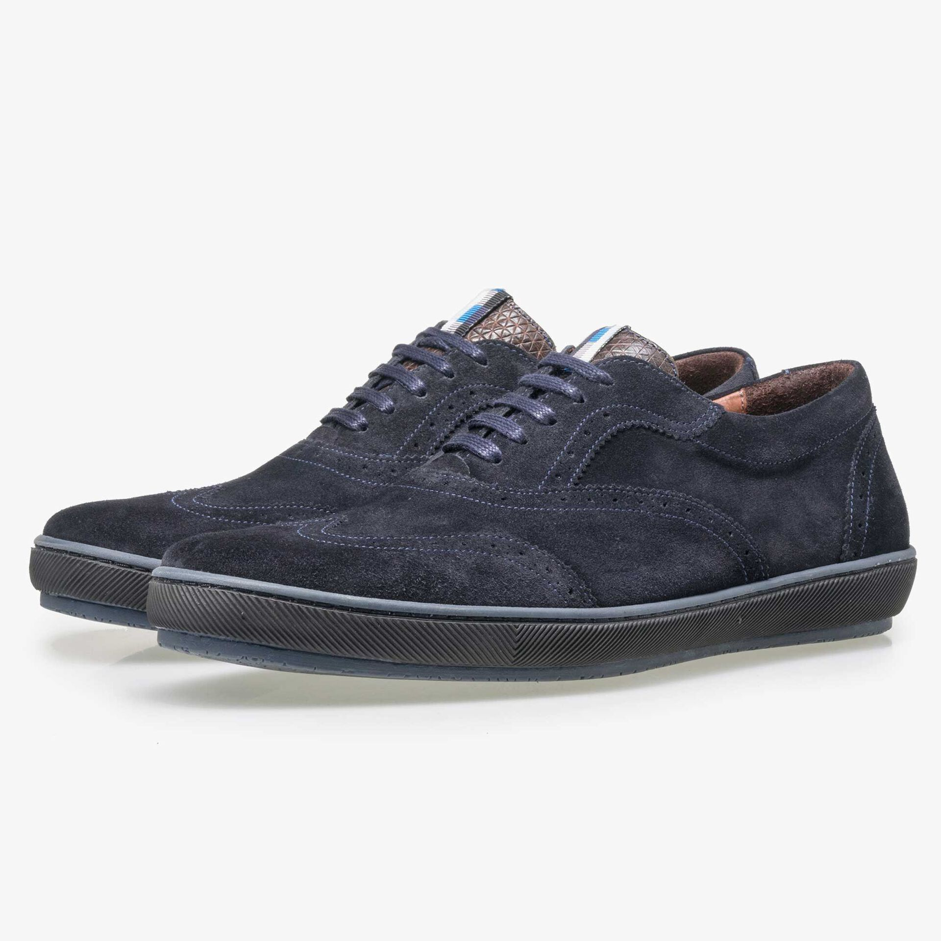 Floris van Bommel men's dark blue suede brogue lace shoe
