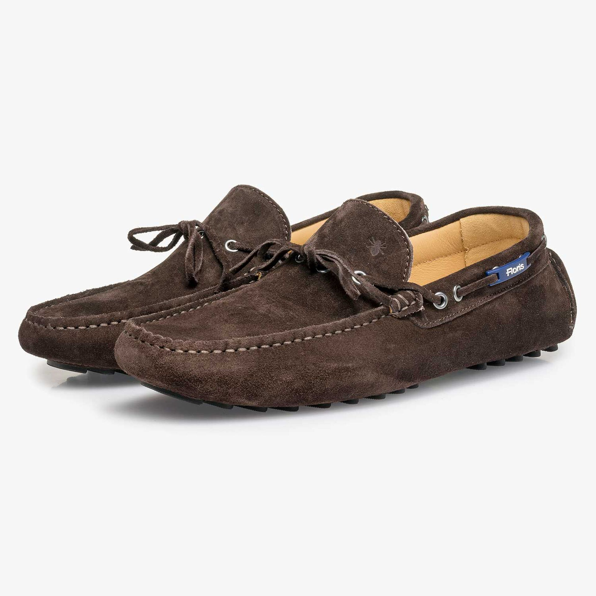 Dark brown calf suede leather moccasin