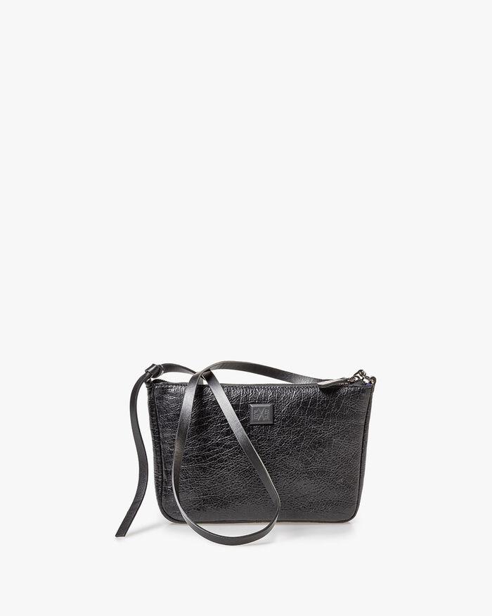 Bag black leather craquelé