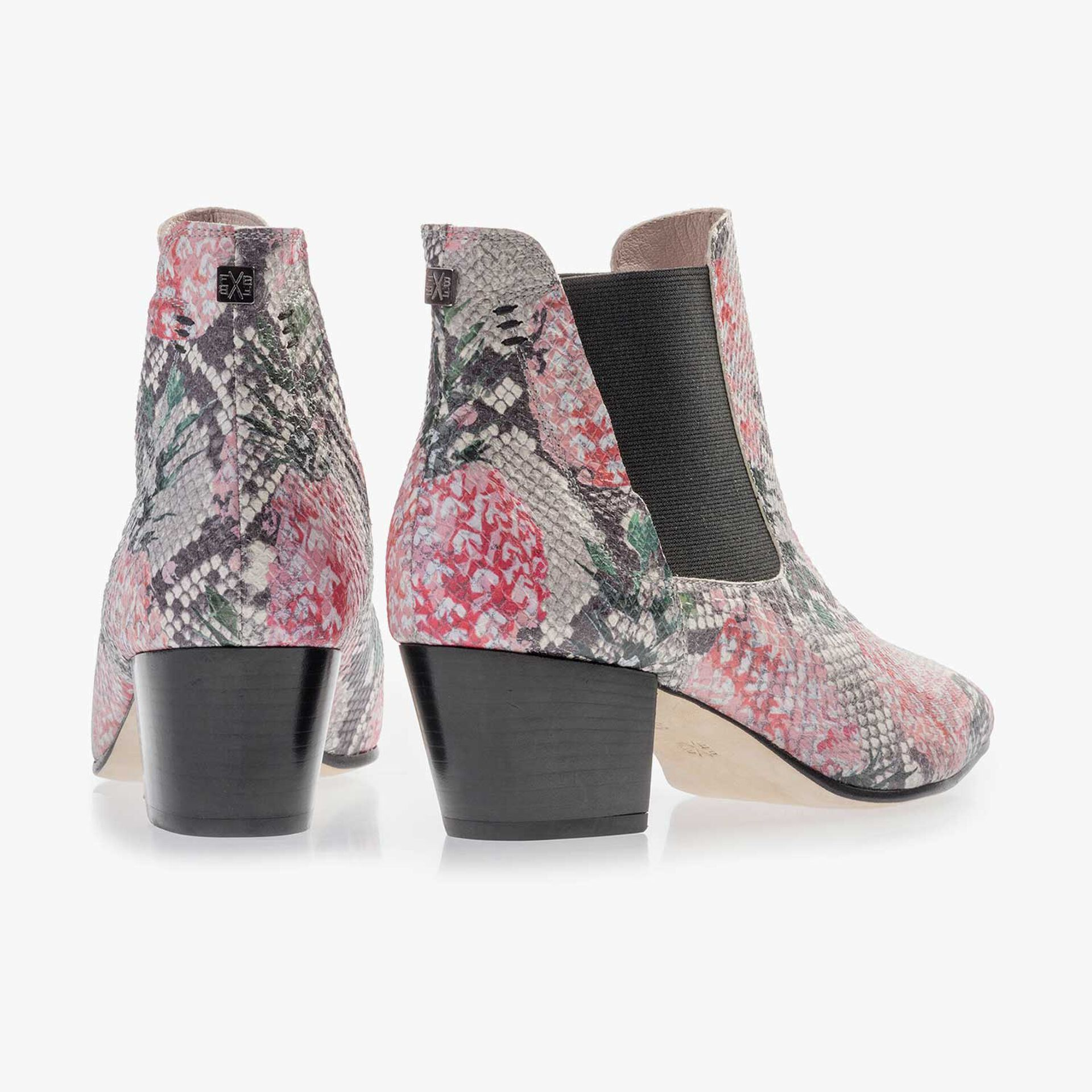 Multi-coloured leather Chelsea boot with printed motif