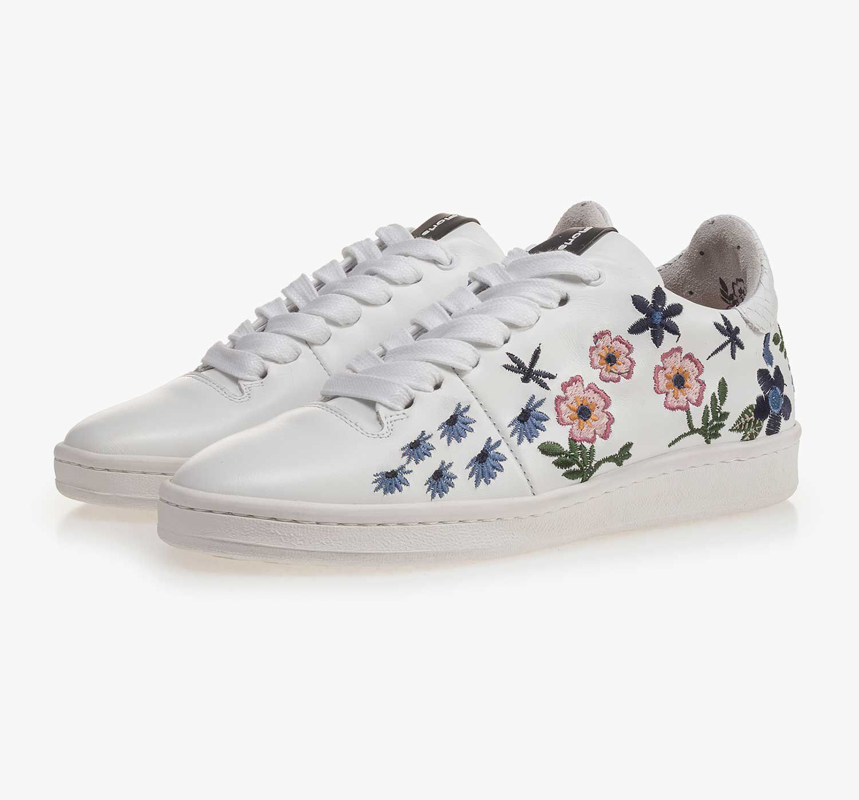 Leder-Sneaker mit Blumen-Stickerei eBePpQO56L