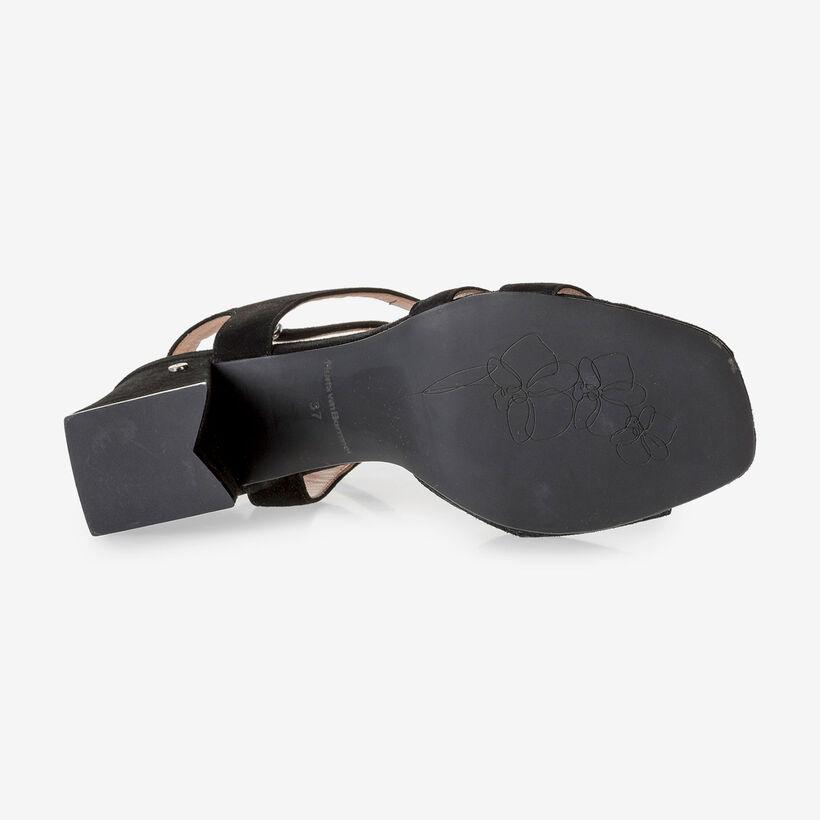 Schwarze Wildleder-Sandalette