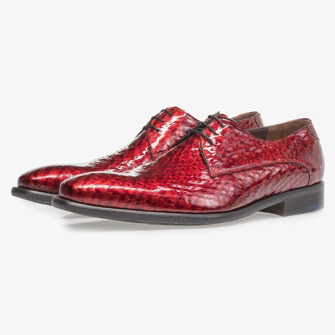 Roter Premium Lackleder-Schnürschuh mit Print