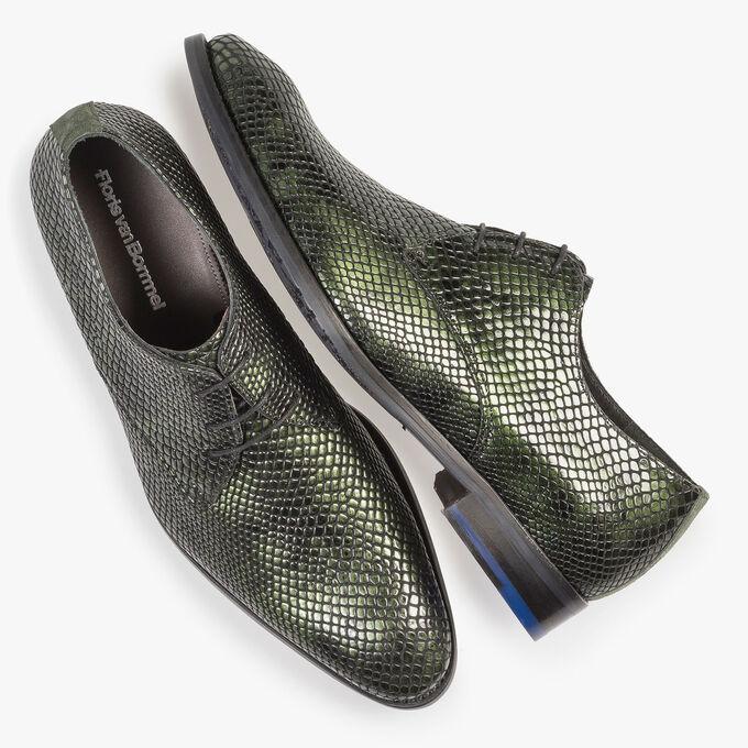Grüner Lackleder-Schnürschuh mit Print