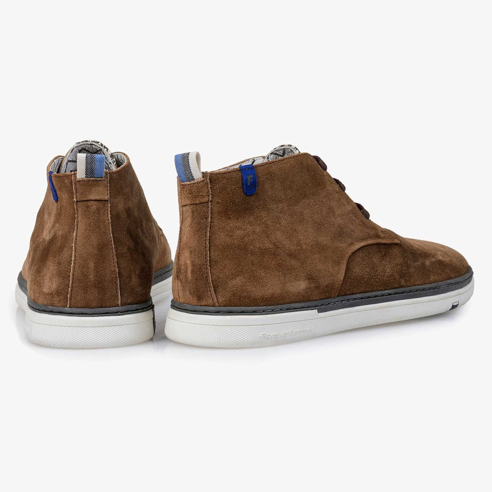 Brown slightly buffed suede leather lace boot