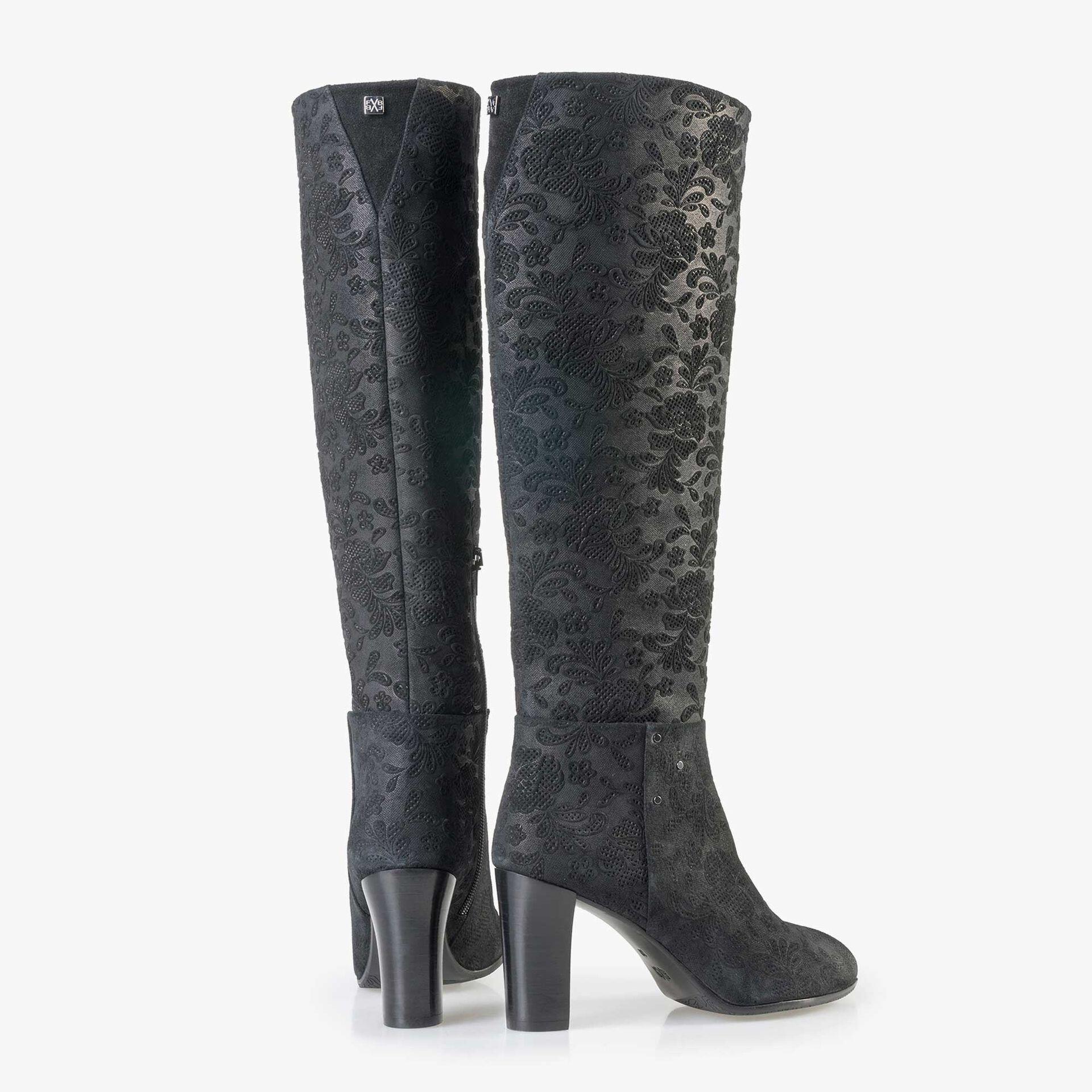 Floris van Bommel schwarze Damen Wildleder Stiefel