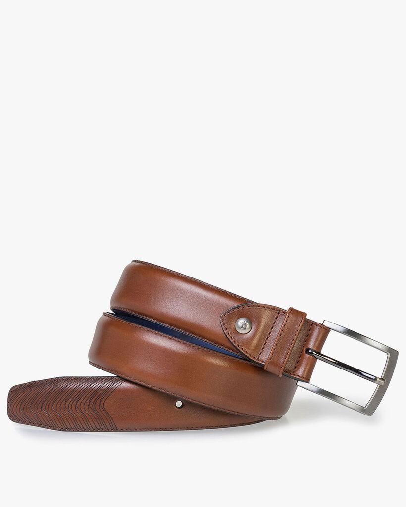 Cognac calf leather belt