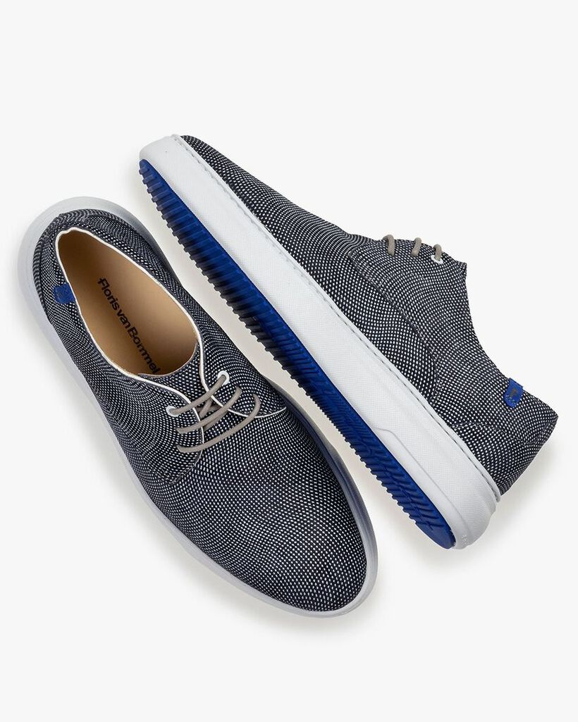 Sneaker mit Print Wildleder blau