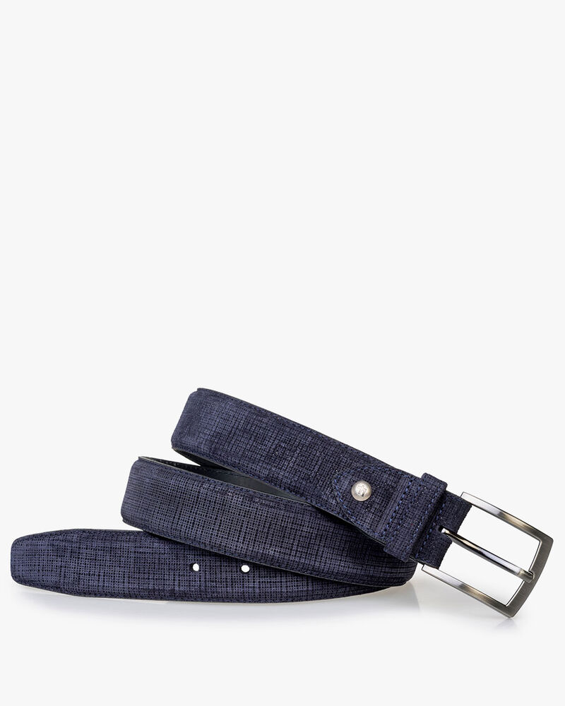 Belt printed suede leather blue