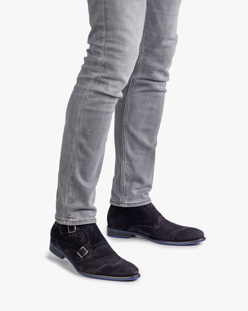 Buckle shoe blue suede leather