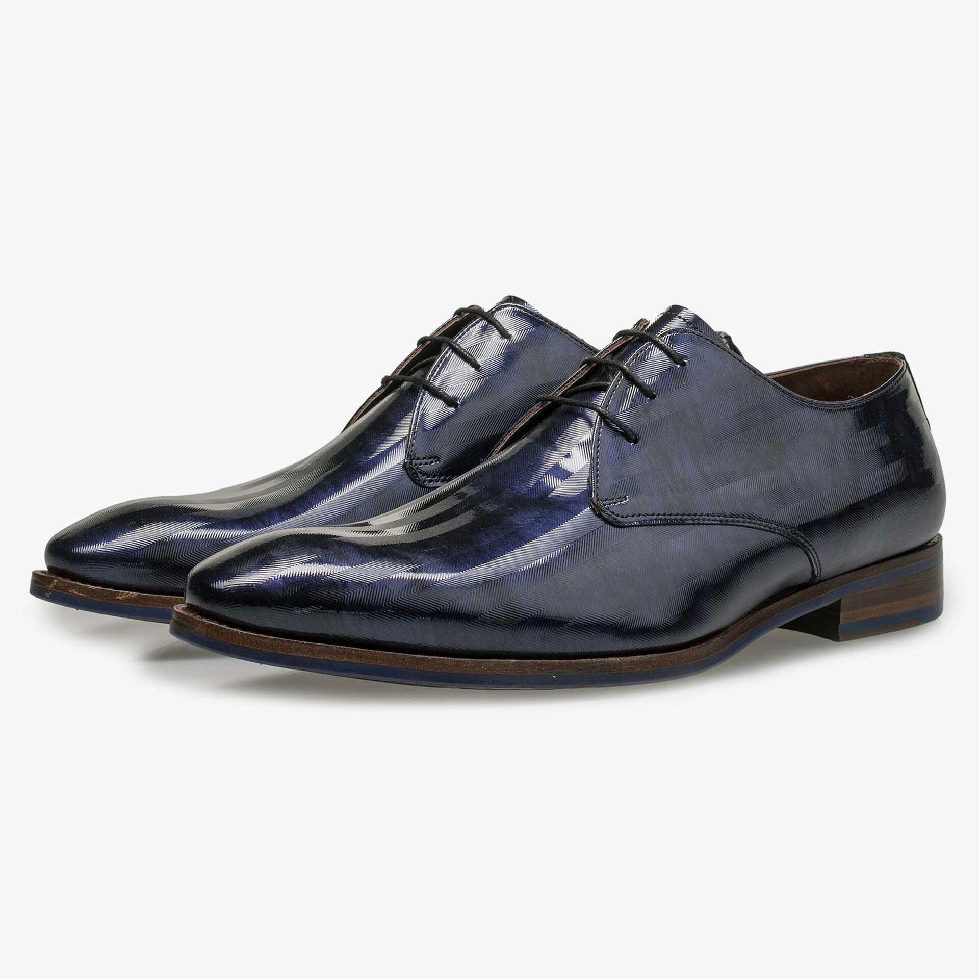 Blauer Premium Lackleder-Schnürschuh