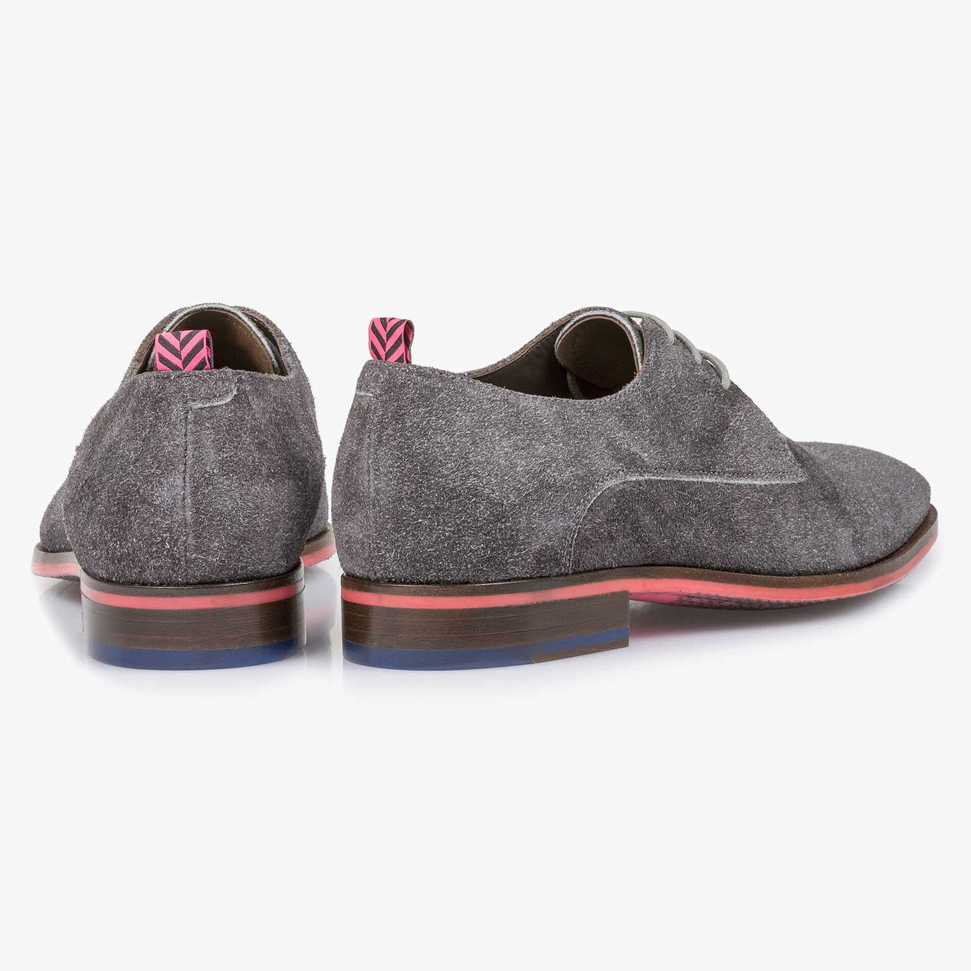 Grey buffed suede leather lace shoe