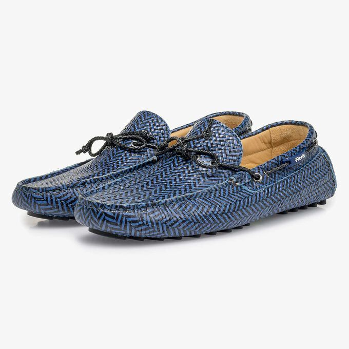 Blue-black printed calf leather moccasin
