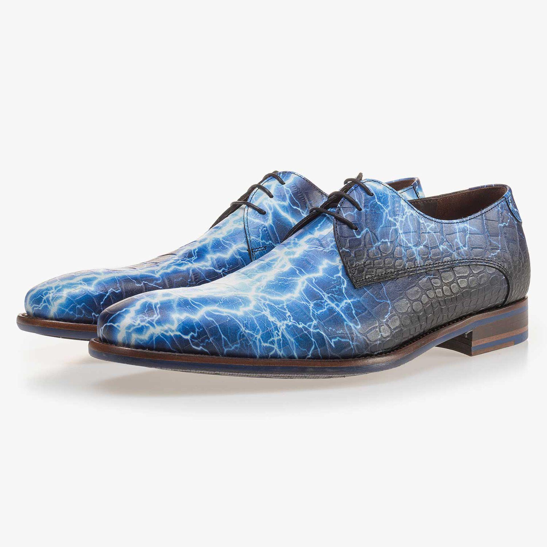 Blauer Premium gemusterter Schnürschuh aus Leder