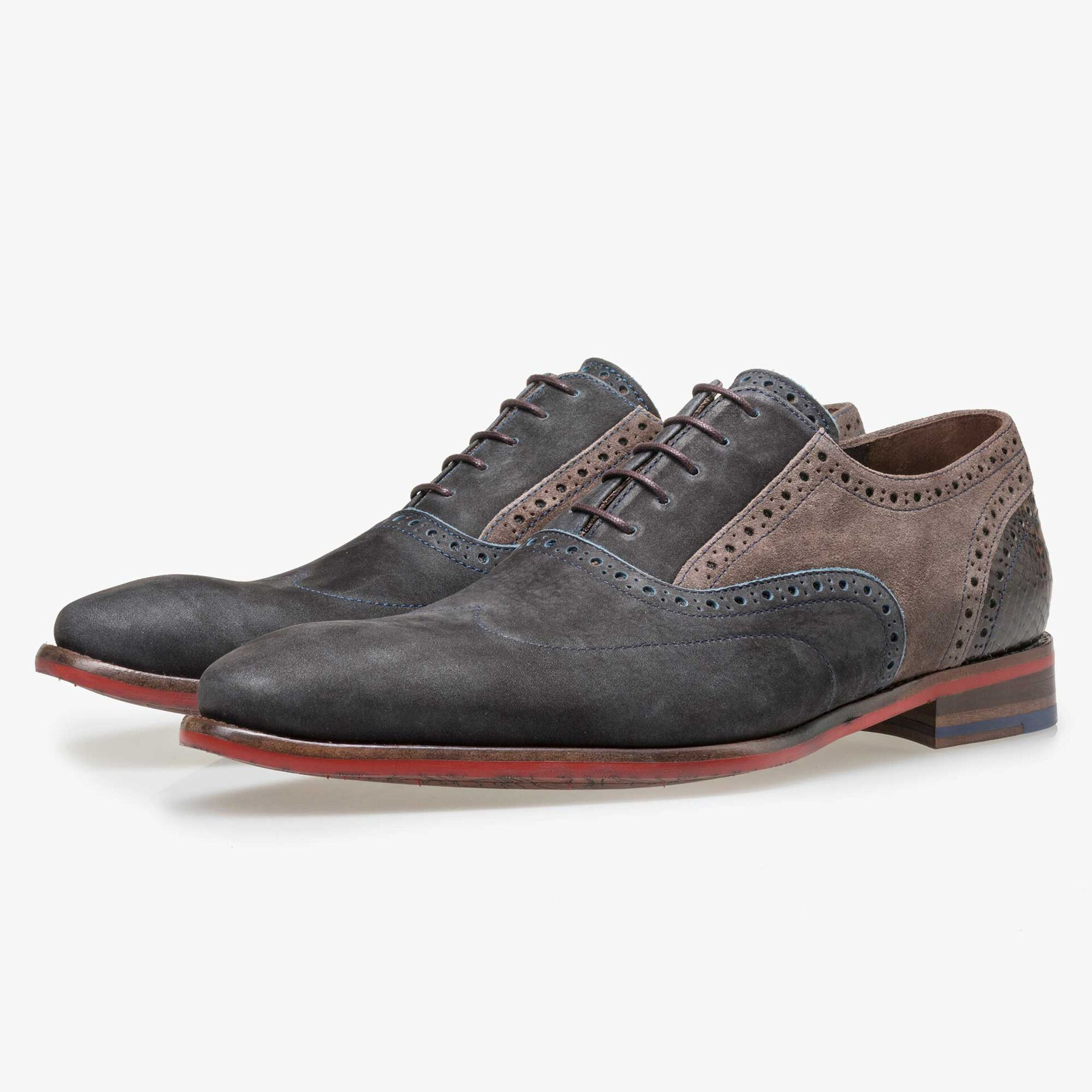 Floris van Bommel blue nubuck brogue lace shoe