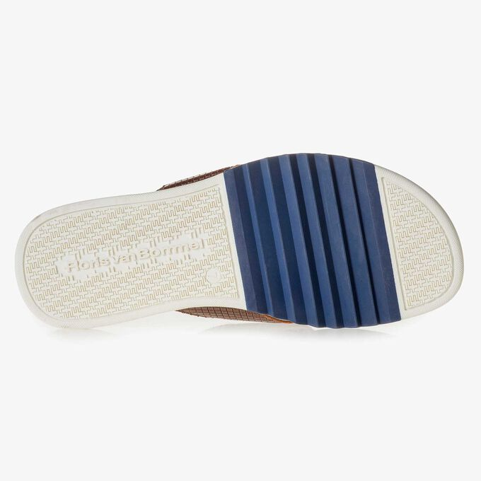 Cognac-coloured printed leather thong slipper