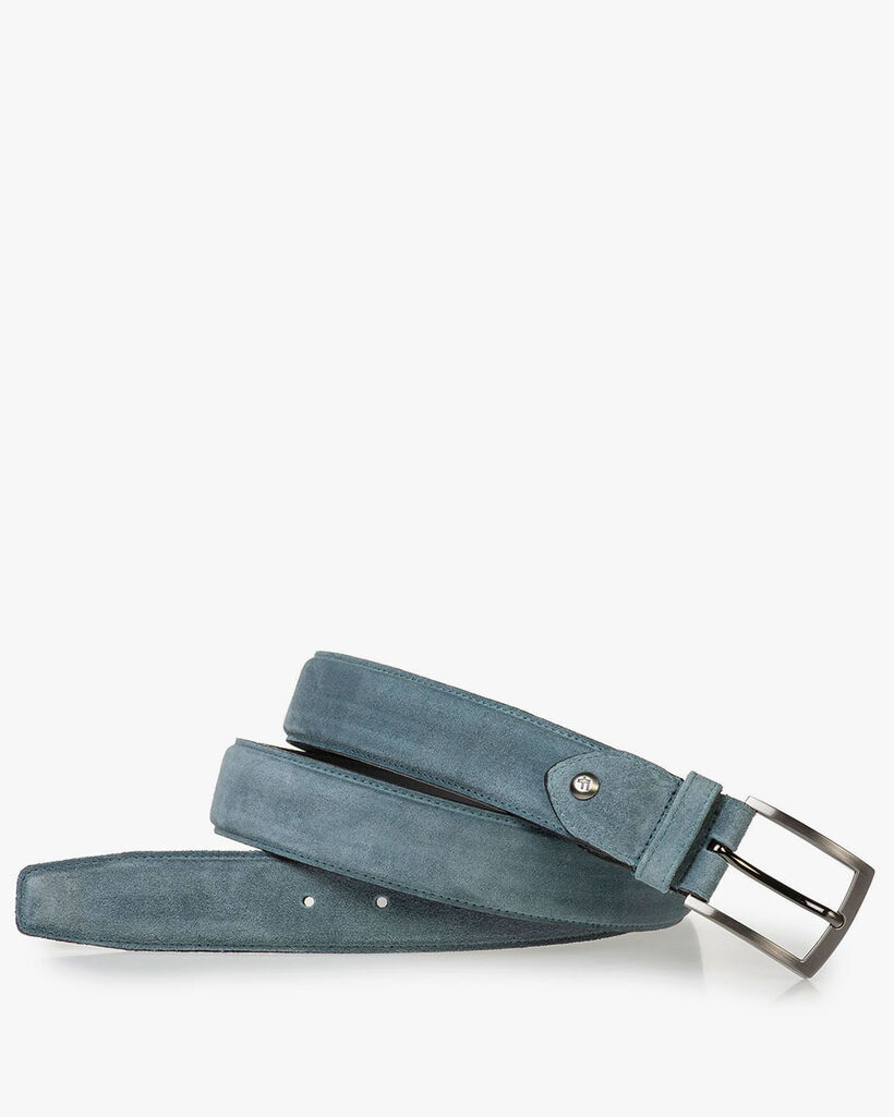 Light blue belt made of waxed suede leather