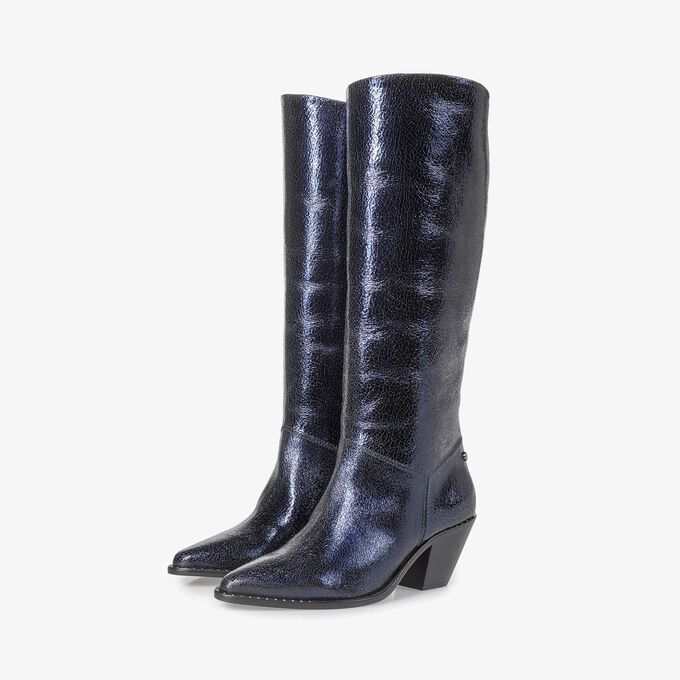 Hohe dunkelblaue Leder-Stiefel mit Metallic-Print